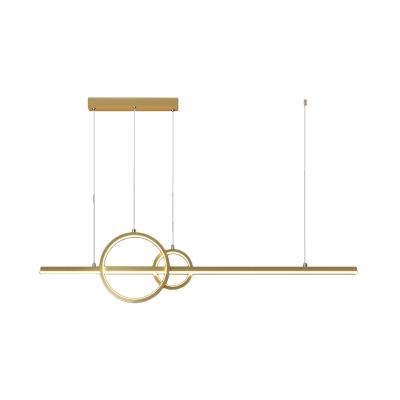 Metal Dual Ring Island Lamp Modern Style Black/Gold LED Hanging Light Fixture with Linear Beam Design