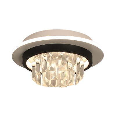 Modernism LED Flush Mount Lamp Black Round/Square Ceiling Fixture with Clear Crystal Shade for Corridor