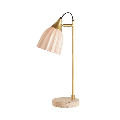Nordic 1 Bulb Night Lighting Pink/Blue/Green Finish Dome Metallic Nightstand Lamp with Ceramic Shade