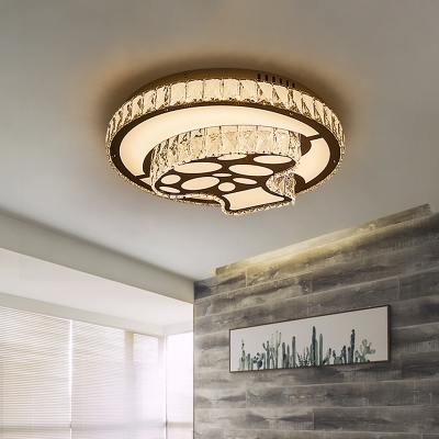 Simplicity LED Ceiling Fixture Chrome Mushroom Flush Light with Faceted Crystal Shade for Bedroom