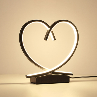 Wood Loving Heart Night Table Lamp Contemporary LED Nightstand Light in Black/White/Beige for Bedside