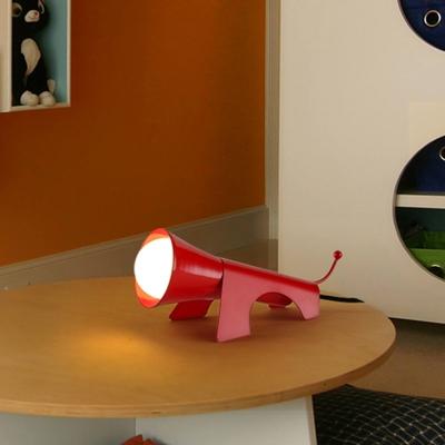 1-Light Study Room Reading Book Light Macaron Red/Yellow Night Lighting with Dog Metal Shade