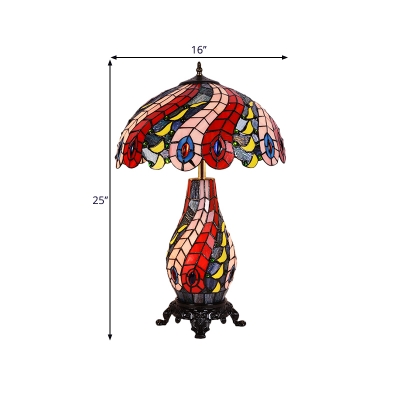 2-Bulb Peacock Tail Table Light Mediterranean Red Hand Cut Glass Night Lighting for Living Room