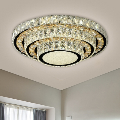 3-Tier Circle Ceiling Light Contemporary Clear Crystal Rectangle LED Black Flush Mount Lighting