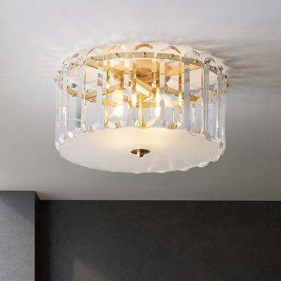 4 Lights Corridor Flush Light Fixture Modern Brass Ceiling Flush with Drum Clear Crystal Shade