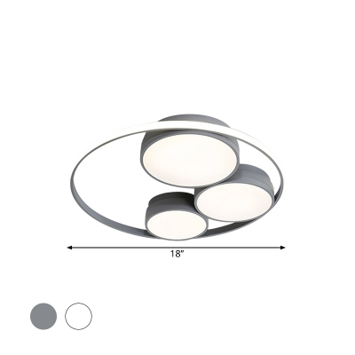 Acrylic Circle Flushmount Lighting Contemporary LED Ceiling Lamp in Grey/White, 18