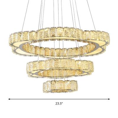 Beveled Crystal Floral Chandelier Lamp Modern Stainless-Steel LED Pendant Light Kit in Warm/White Light with 3-Tier Design