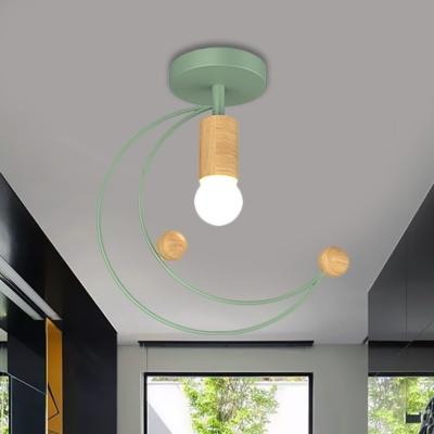 Kids 1-Bulb Semi Flush Mount Lighting Black/Grey/White Moon Ceiling Fixture with Metal Shade for Corridor