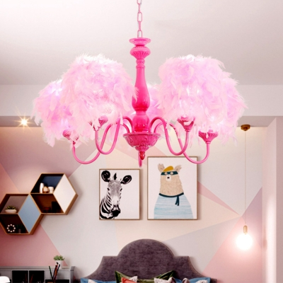 Metal Curved Arm Chandelier Minimalist 5 Bulbs Pendant Light Kit in Pink with Feather Deco