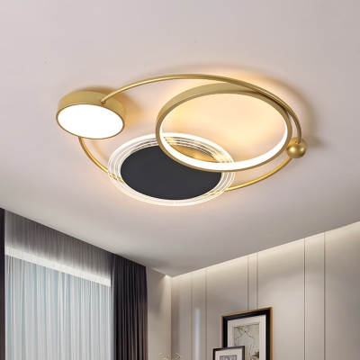 Nordic Round/Oval Flush Light Acrylic LED Sleeping Room Ceiling Mounted Fixture in Gold