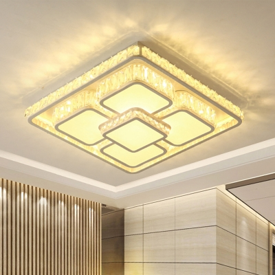Square Crystal Ceiling Flush Mount Contemporary LED White Flushmount Lighting for Bedroom