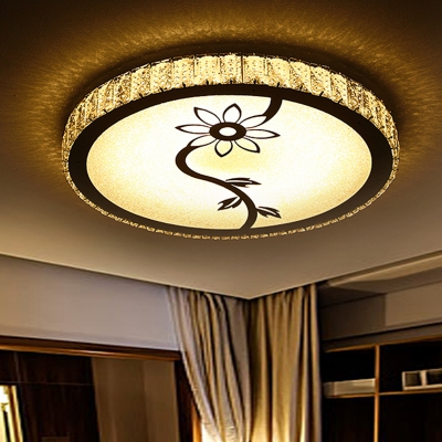 Chrome Round Ceiling Mounted Fixture Minimalist LED Faceted Crystal Flush Light with Bloom Pattern