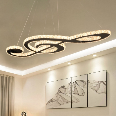 Crystal Block Musical Note Chandelier Modernist LED Stainless-Steel Hanging Lamp Kit for Bedroom