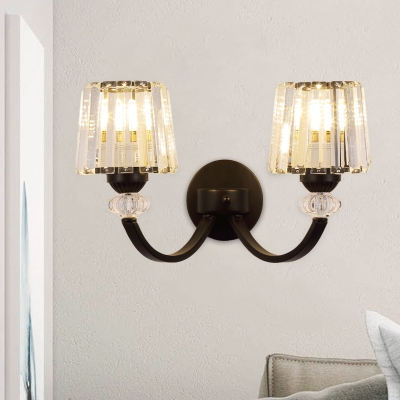 Swirled Arm Sconce Light Simple Metal 1/2-Head Living Room Wall Mount Lamp in Black/Gold with Cone Crystal Shade