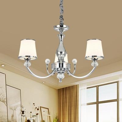 Tapered Milk Glass Pendant Light Modern 3/6-Head Chrome/Gold Chandelier Lamp for Living Room