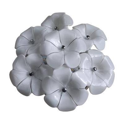 Floral LED Flush Mount White Glass Energy Saving Surface Mount Ceiling Light for Living Room