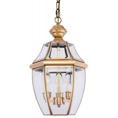 Lantern Clear Glass Chandelier Light Colonial 3 Bulbs Hallway Pendant Lamp in Brass