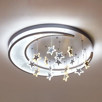 Beautiful LED Flush Ceiling Light with Hanging Moon and Sparkling Stars