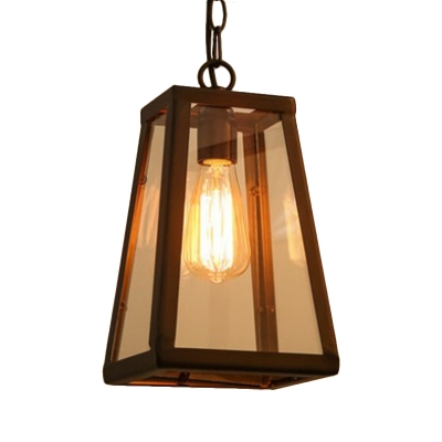 Trapezoid Clear Glass Pendant Lamp Factory Single-Bulb Living Room Hanging Ceiling Light in Black