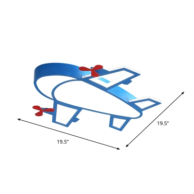 Boys Room LED Ceiling Fixture Cartoon Blue Flush Mount Lighting with Plane Acrylic Shade in White/3 Color Light