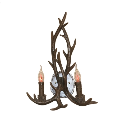 Candle Style Resin Wall Lamp 2-Light Living Room Sconce Lighting with Decorative Antler in Grey/Brown/Coffee