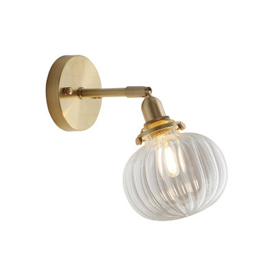 Mini Persimmon Bedside Wall Lighting Countryside Clear Ribbed/Blue Glass 1 Head Brass Swing Arm Reading Wall Lamp