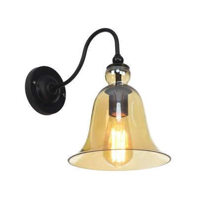 Black 1 Bulb Wall Mounted Lamp Rustic Green/Amber Glass Bell Shade Wall Light Fixture with Gooseneck Arm