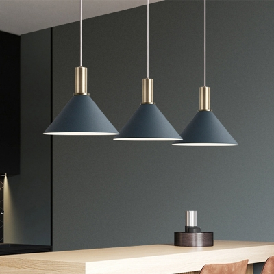 Metallic Conic Cluster Pendant Light Nordic 3 Bulbs Hanging Ceiling Light in Dark Blue