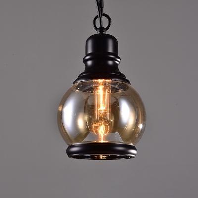 1-Bulb Ceiling Hanging Lantern Industrial Globe/Oval/Cylinder Smoke Glass Suspension Pendant Light in Black