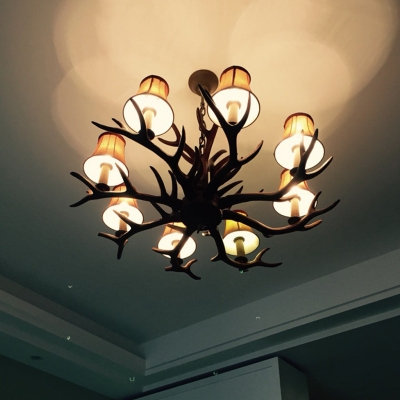 Brown Antler Chandelier Rural Resin 8 Lights Dining Room Pendant Lamp with Flared Fabric Shade