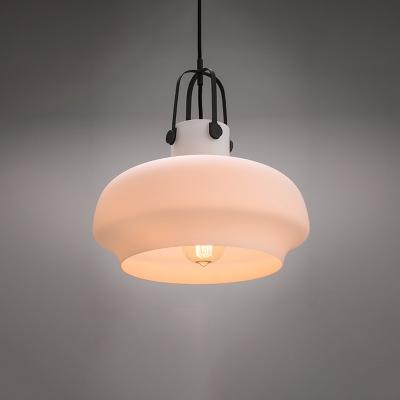White/Amber Glass Pot Shaped Pendant Lamp Warehouse 1 Bulb Kitchen Bar Pendulum Light, 7