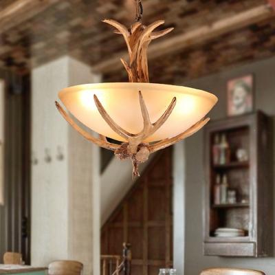 3 Lights Opaline Glass Chandelier Rural Brown Wide Bowl Bistro Ceiling Suspension Lamp with Antler Decor