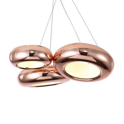 5 Lights Donut Chandelier Lighting Modernism Metal Rose Gold Led Hanging Pendant Light
