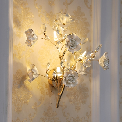 Contemporary 3 Heads Wall Mounted Lamp White Bloom Wall Sconce Lighting with Ceramics Shade