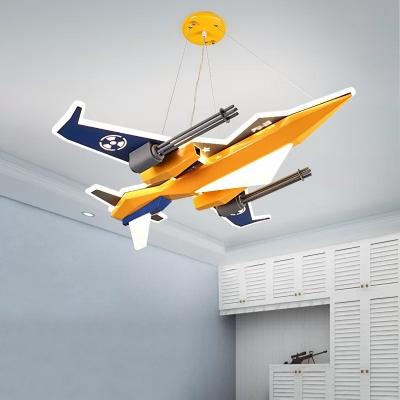 Aircraft Chandelier Lighting Kids Metal LED Yellow Hanging Light Fixture for Boys Bedroom