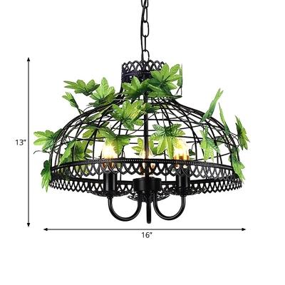 Farmhouse Basket/Birdcage Hanging Pendant 4 Lights Iron Chandelier in Black with Fake Vine