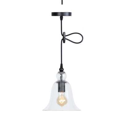 Loft Flared Hanging Lamp Single-Bulb Clear/Smokey/Amber Glass Ceiling Pendant Light with Cord Grip