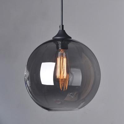 Spherical Smokey Glass Hanging Light Kit Vintage 1 Head Dining Room Down Lighting Pendant, 8