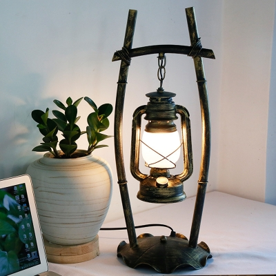 Brass Kerosene Nightstand Light Rustic Frosted White Glass 1 Head Bedroom Table Lamp with Bracket