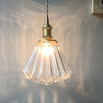 Diamond Bedside Pendant Light Fixture Rural Clear/Brown Ribbed Glass 1 Bulb Brass Suspension Lamp