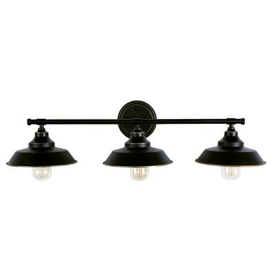 Iron Linear Wall Mount Lighting Industrial 3 Heads Bathroom Wall Lamp with Barn Shade in Black