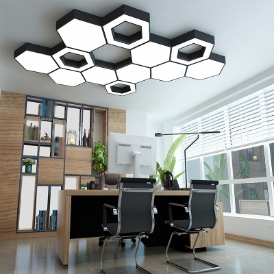 Nordic Hexagon Flush Light Fixture Acrylic Office LED Ceiling Mount Lighting in Black, 18