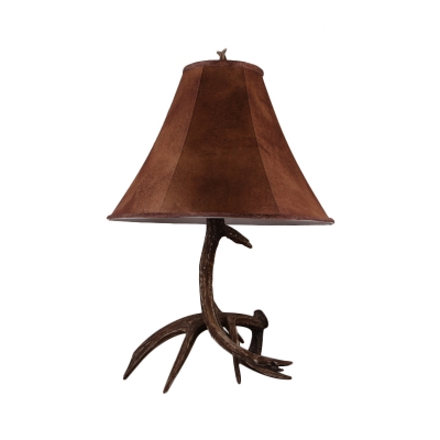 Fabric Paneled Bell Table Lamp Rustic 1 Bulb Bedside Antler Night Light in Brown