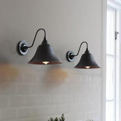 Trumpet Living Room Wall Light Farmhouse Metallic 1 Bulb Black Wall Mounted Lamp with Gooseneck Arm