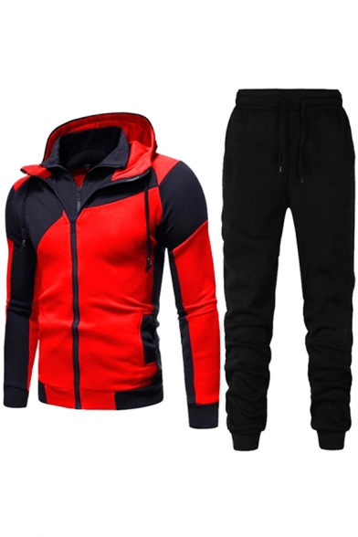 Mens Co-ords Creative Contrast Panel Double-Layer Zipper Design Drawstring Slim Fitted Long Sleeve Hoodie Long Pants Jogger Co-ords