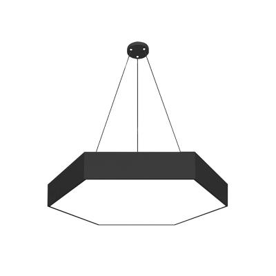 Modernism LED Drop Lamp Black Hexagonal Pendant Ceiling Light with Acrylic Shade, 18