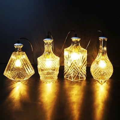 Whiskey Bottle Bistro Pendant Lighting Vintage Clear Carved Glass 1-Light Black Hanging Lamp Kit