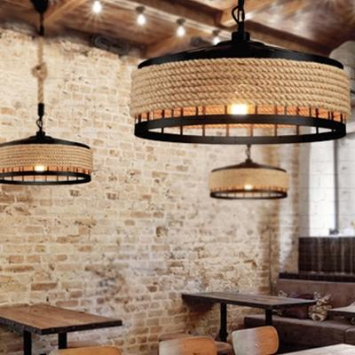 Conical Rope Pendant Light Kit Farmhouse 1-Light Restaurant Ceiling Hang Light in Brown, 12