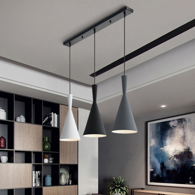 Nordic 3 Lights Cluster Pendant Black-Grey-White Funnel Hanging Light Fixture with Metal Shade and Round/Linear Canopy