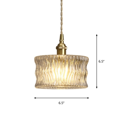 Drum Shaped Clear Wavy Glass Pendant Antique 1 Head Living Room Ceiling Hang Light in Brass
